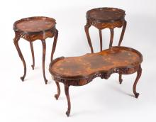 ITALIAN 3 PIECE FLORAL MARQUETRY TABLE SET