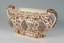 FISCHER BUDAPEST ZSOLNAY RETICULATED CONSOLE BOWL