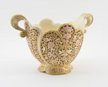 ZSOLNAY RETICULATED DOUBLE HANDLE CENTER BOWL