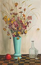 ANDRE QUELLIER STILL LIFE PAINTING WITH BOUQUET IN
