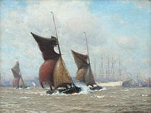 WILLIAM E. NORTON BREEZY DAY ON THE THAMES PAINTIN