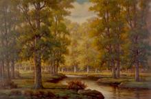 """HOWARD ATKINSON """"THE CREEK IN OCTOBER"""" PAINTING"""
