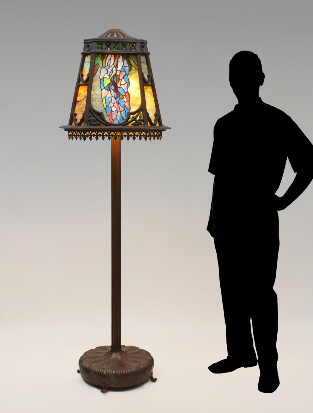 Leaded Glass Torchiere Floor Lamp