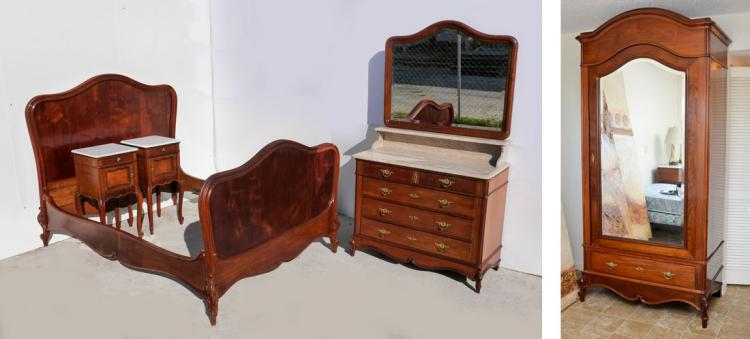French Louis Xv Style Mahogany Bedroom Suite