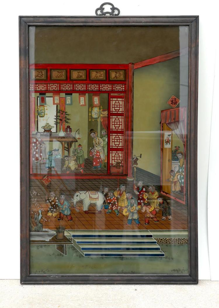 ORIENTAL REVERSE PAINTING ON GLASS