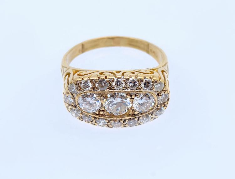 18K & DIAMOND EDWARDIAN REVIVAL RING