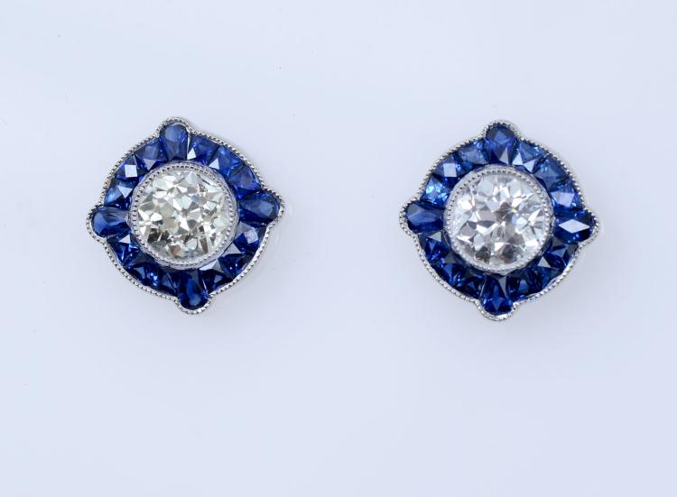 PLATINUM DIAMOND & SAPPHIRE EARRINGS
