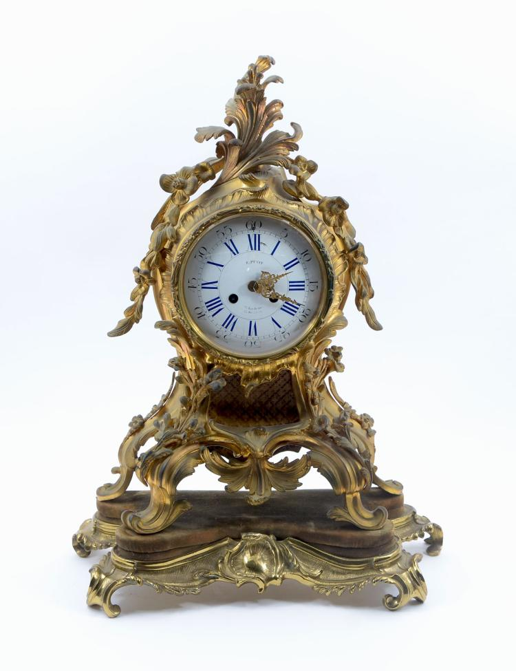 E. PETIT FRENCH GILT BRONZE MANTLE CLOCK
