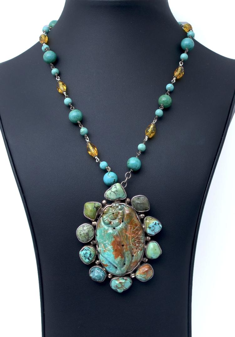 TURQUOISE PENDANT / BROOCH NECKLACE IN STERLING