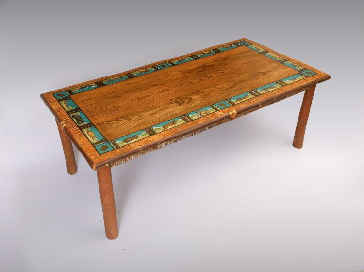 TIMPSON CREEK GALLERY CARVED & PAINTED DINING TABLE