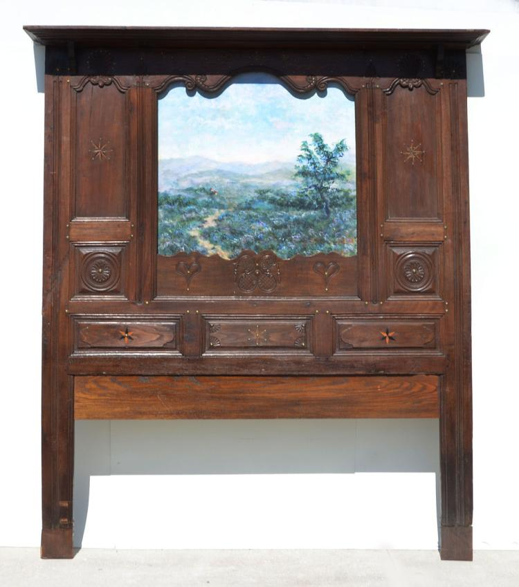 19th CENTURY CARVED OAK HEADBOARD WITH INSET PAINTING