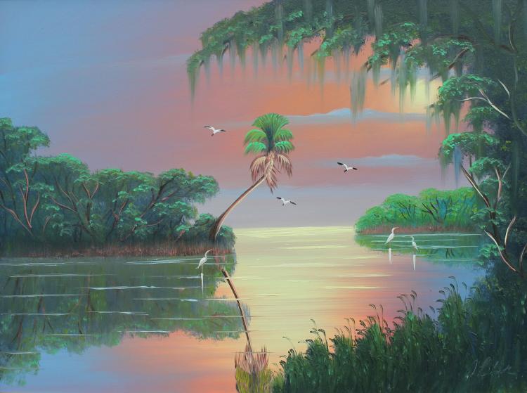 AL BLACK FLORIDA HIGHWAYMEN LAGOON PAINTING