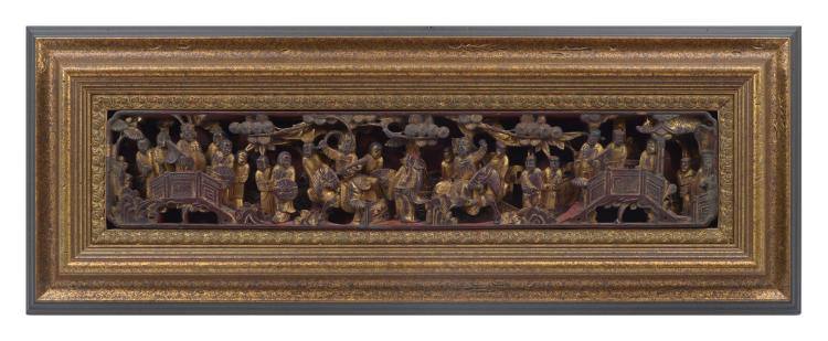 CARVED GILT QING DYNASTY IMPERIAL FIGURAL PANEL IN FRAM