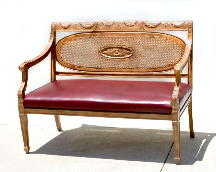 CARVED FRENCH LEATHER SETTEE
