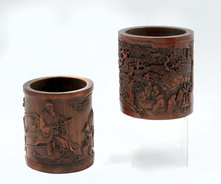 2 QING DYNASTY CARVED BAMBOO FIGURAL BRUSHPOTS