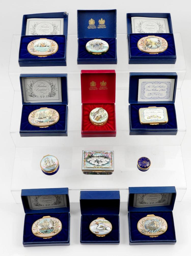 12 PC COLLECTION HALYCON ENAMELED PILL BOXES