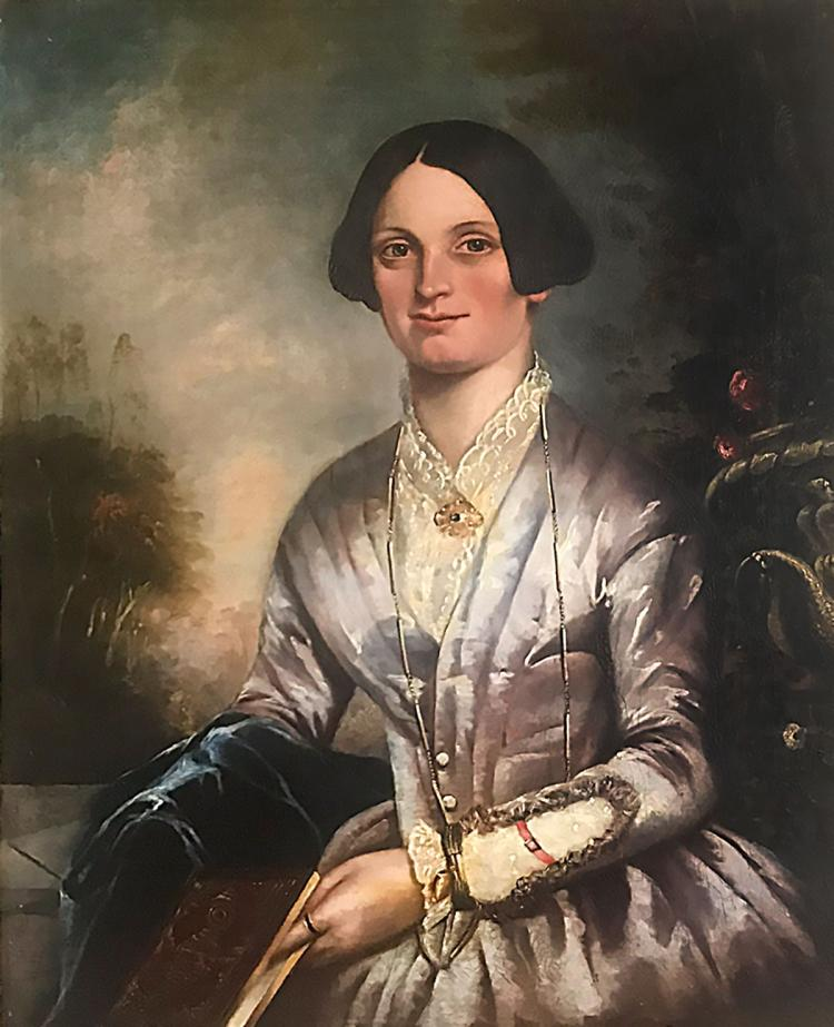 LARGE EARLY PORTRAIT PAINTING OF A WELL TO DO WOMAN