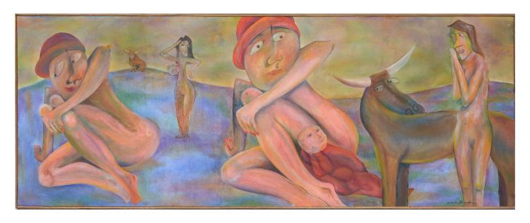 LARGE SURREAL PAINTING WITH NUDE FIGURES AND OXEN