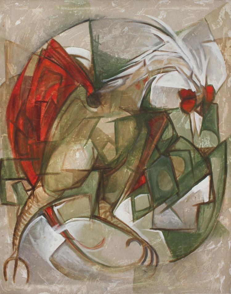 LARGE CUBIST ROOSTER SIGNED POWERS