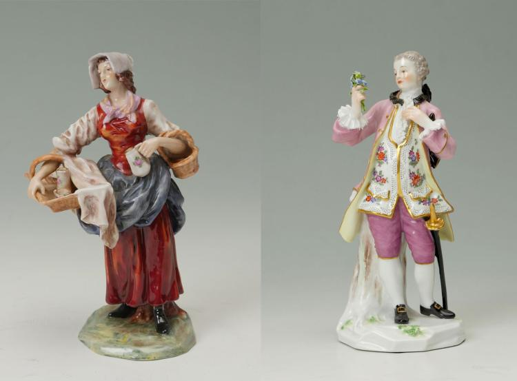 MEISSEN FIGURINE OF MAN & CAPODIMONTE FEMALE FIGURE