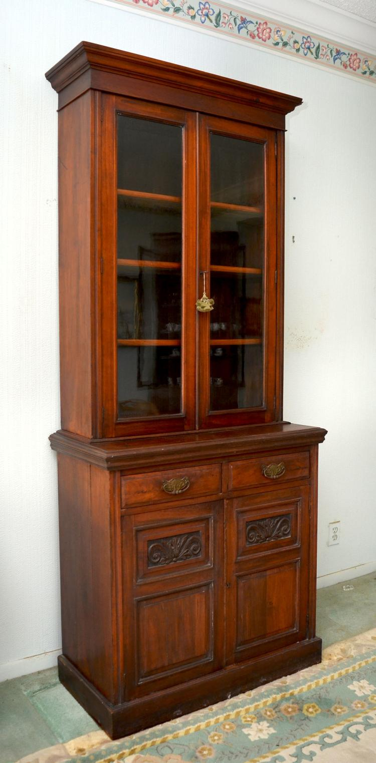 TALL ANTIQUE 2 PIECE CHERRY BOOKCASE