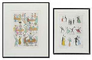 PAIR AIDA WHEDON COLORED ETCHINGS