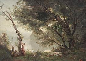 JAMES MCBURNEY FIGURES BY A RIVER PAINTING