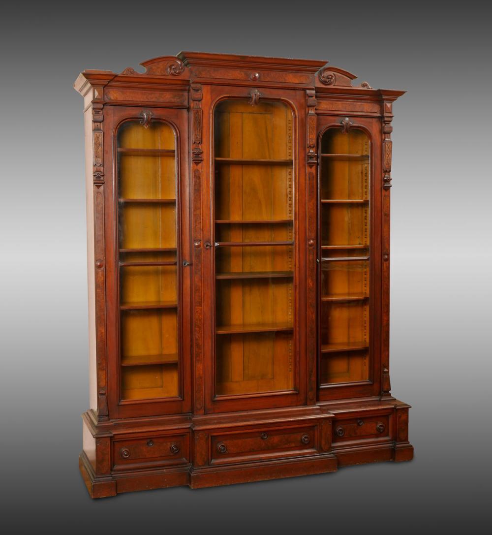 Massive Victorian Walnut Bookcase