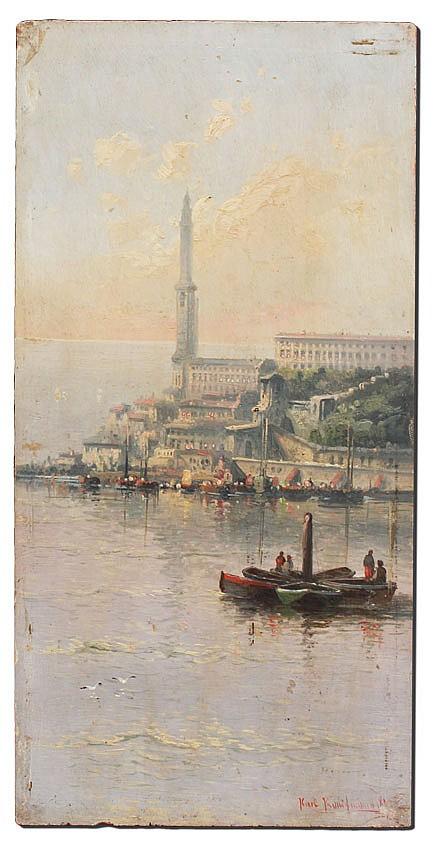 22: KARL KAUFMANN ITALIAN COASTAL PAINTING 1890