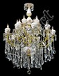 129: ELEGANT BRASS, PORCELAIN AND CRYSTAL CHANDELIER