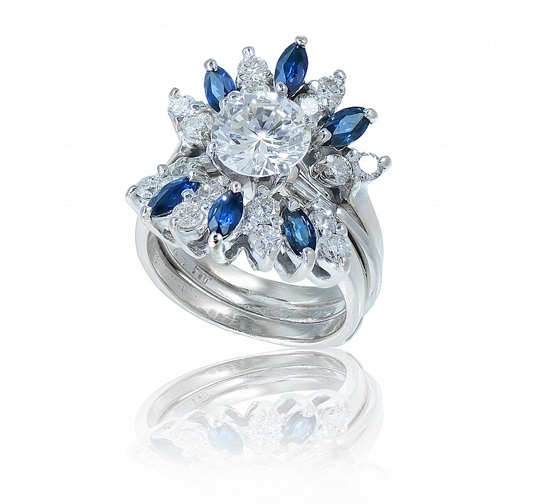 41: 14K GOLD 1.5 CT DIAMOND RING W/ SAPPHIRE JACKET WE