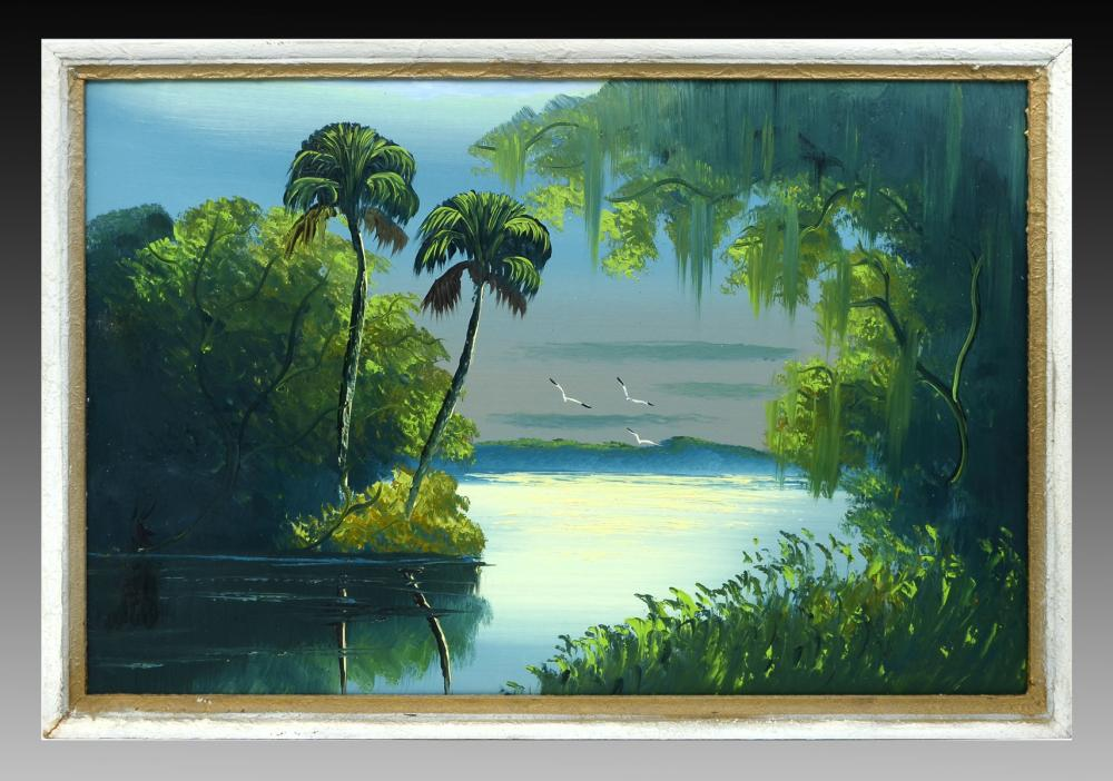 AL BLACK FLORIDA HIGHWAYMEN LAGOON PAINTING