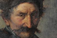 PORTRAIT PAINTING OF A RUSSIAN MAN WITH MOUSTACHE