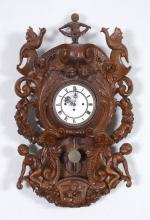 1875 BLACK FOREST CARVED FIGURAL WALL CLOCK