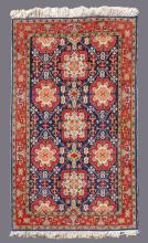 SEMI-ANTIQUE TURKISH HAND KNOTTED WOOL RUG 4' x 5'