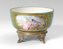 SEVRES STYLE HAND PAINTED BOWL WITH BRONZE BASE