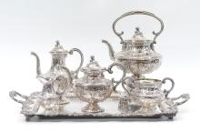 HAWKSWORTH, EYRE & CO. SILVERPLATE TEA SERVICE