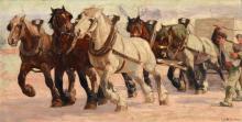 CONSTANT DE BUSSCHERE WORK HORSES PAINTING