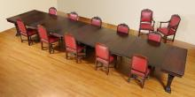 R.J. HORNER CARVED 20' BANQUET TABLE & 12 CHAIRS