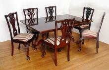 MAHOGANY CHIPPENDALE STYLE DINING TABLE & CHAIRS