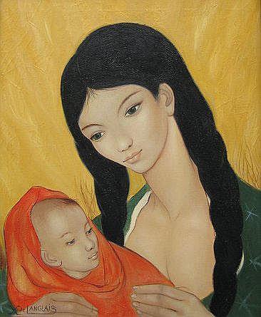 XAVIER DE LANGLAIS MOTHER AND CHILD, OIL/CANVAS
