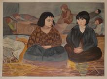 MAURICE MINKOWSKI LITHOGRAPH OF 2 GIRLS