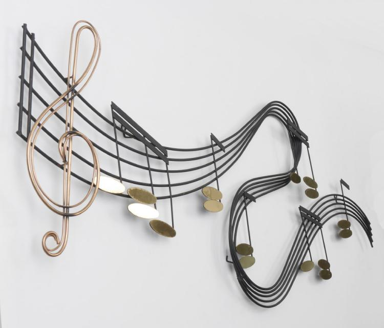 Mixed Metal Musical Theme Wall Art Possibly By Jere