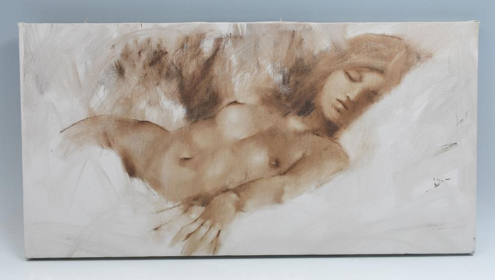 SLEEPING FEMALE NUDE PAINTING BY JIM ABEITA