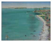 MANUEL KOMROFF OIL ON CANVASBOARD FLORIDA WATERWAY