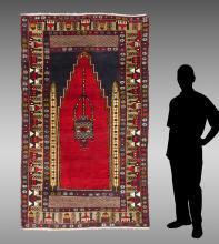 TURKISH HK WOOL PRAYER RUG, 4'5
