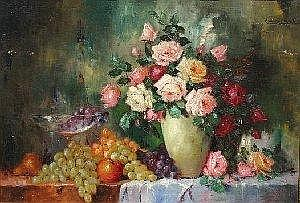 FISCHER, Carl Holger, (Danish, 1885-1955): Floral Still Life, O/C, 27in x 39in, SUR, encased in period heavy gilded gesso molding, overpainted in gold with subtle repairs, 34 .5in x 46in Condition Several areas of paint flake, cracklure, and inpaint