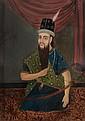 REVERSE PAINTED SE ASIAN PAINTING OF MAN KNEELING