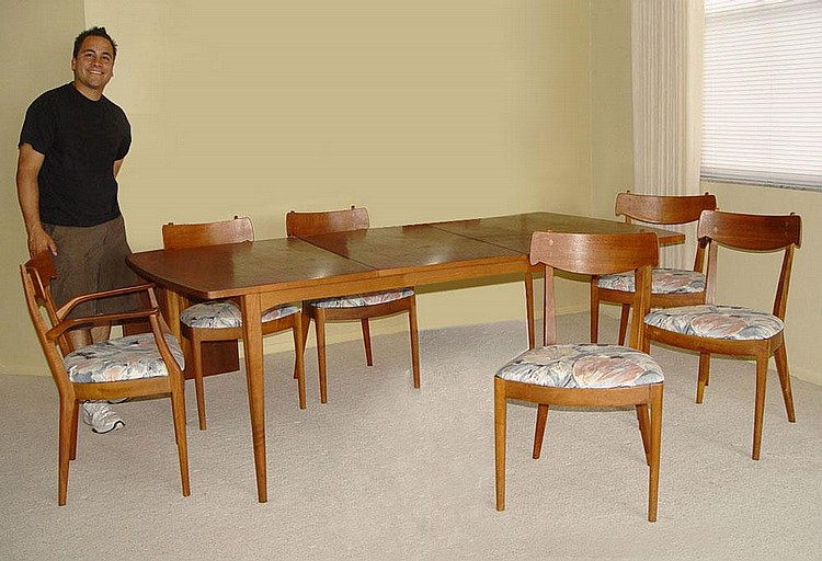 DREXEL DECLARATION MID CENTURY DINING TABLE 6 CHAI