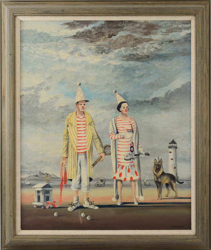JOHN MORRIS SURREAL CLOWN PAINTING